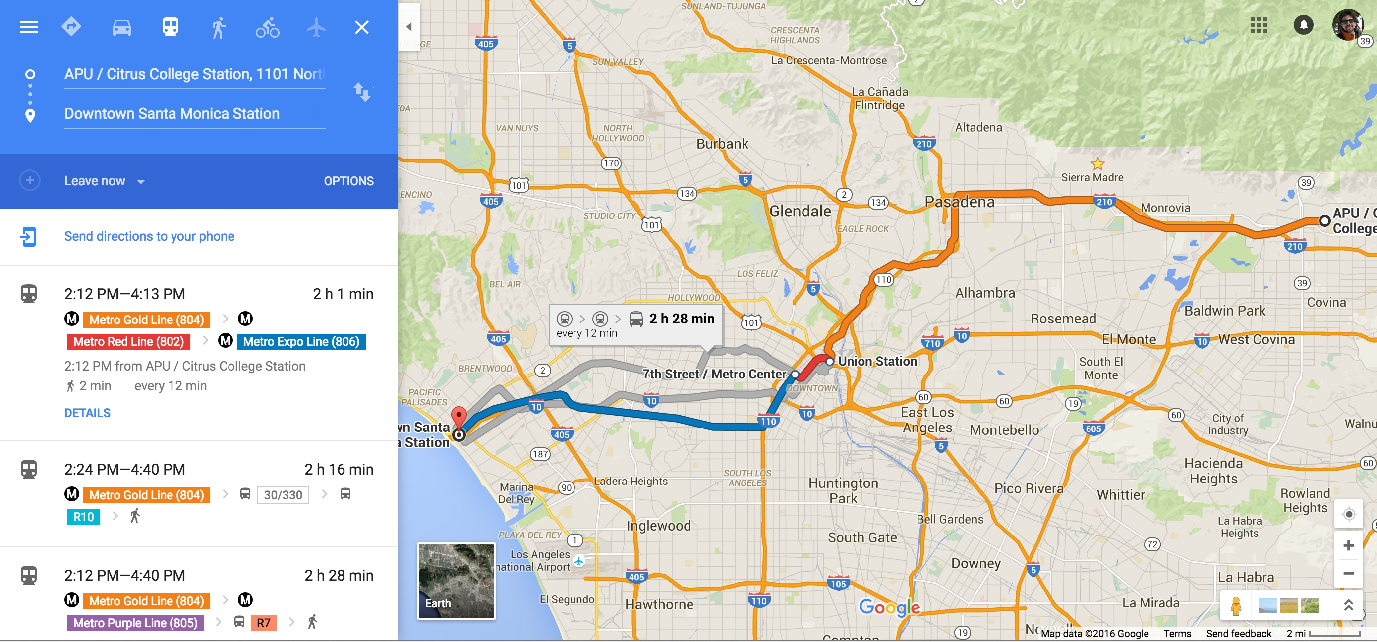 The Azusa-to-SaMo trip as seen on Google Maps.