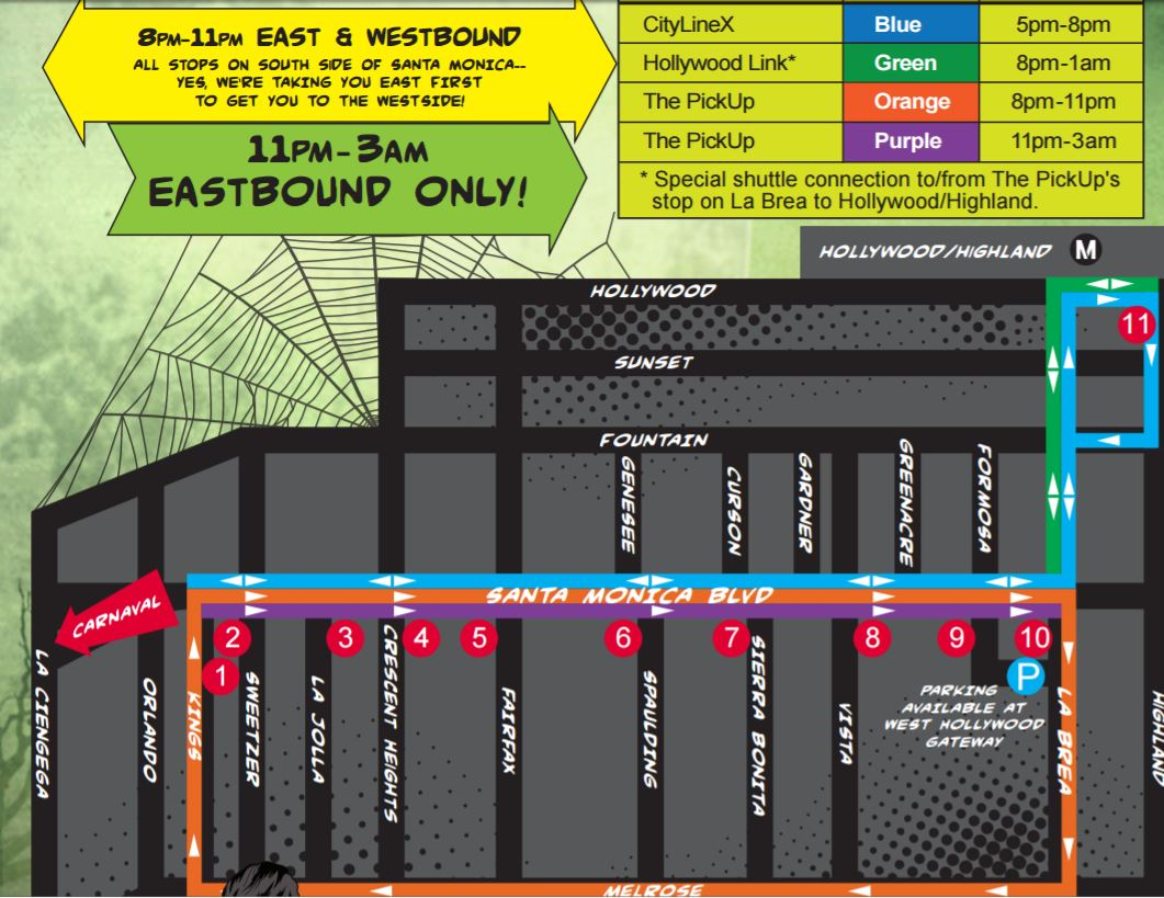 WeHo Carnaval Shuttle Routes