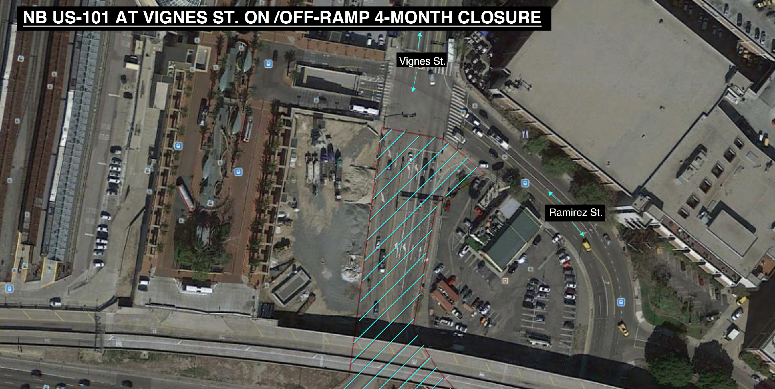 Four-month northbound US-101 Vignes Street on/off ramp closure to
