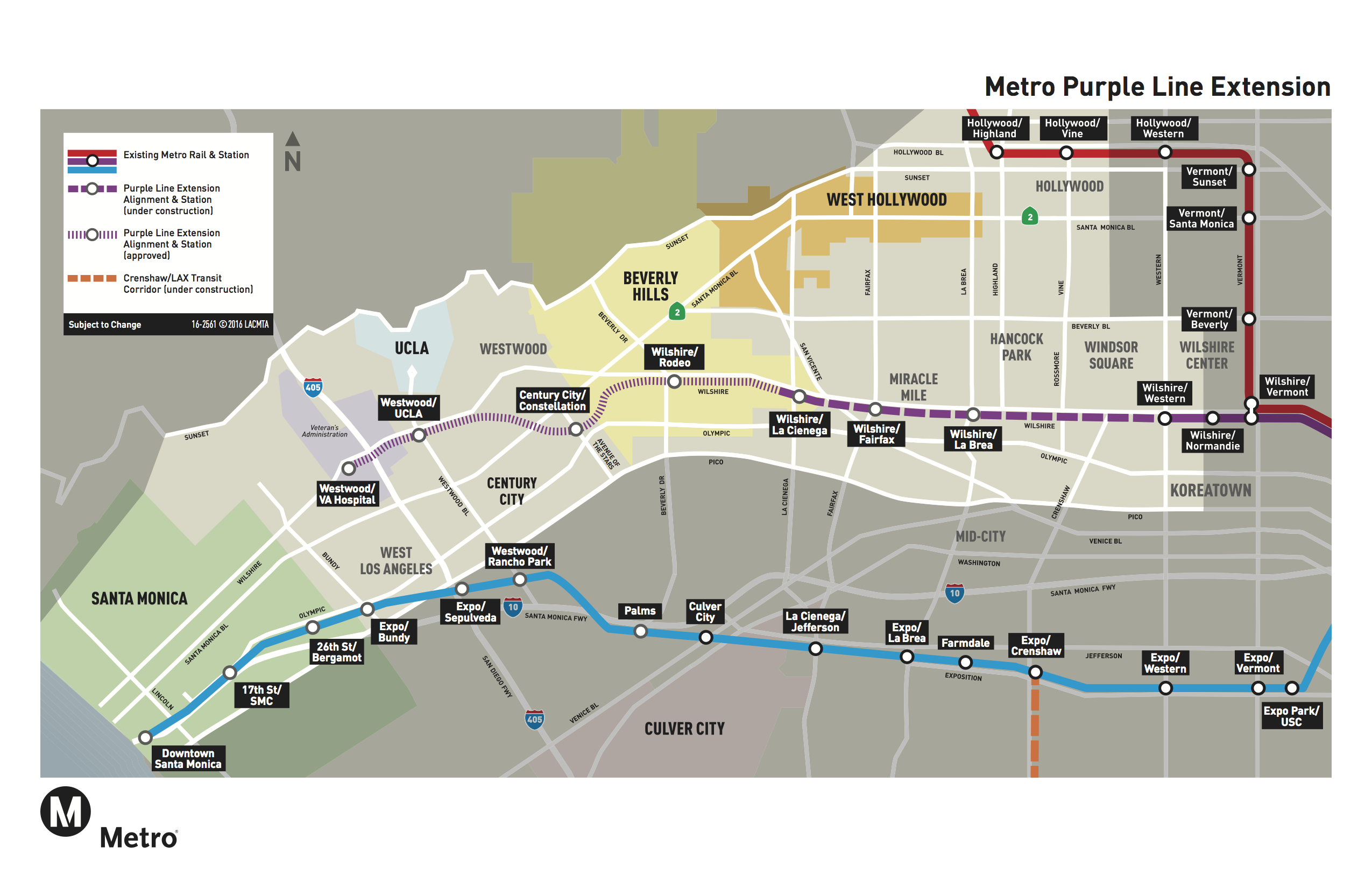 Los Angeles Subway Map 2016.Primer For Newbies The Purple Line Extension The Source