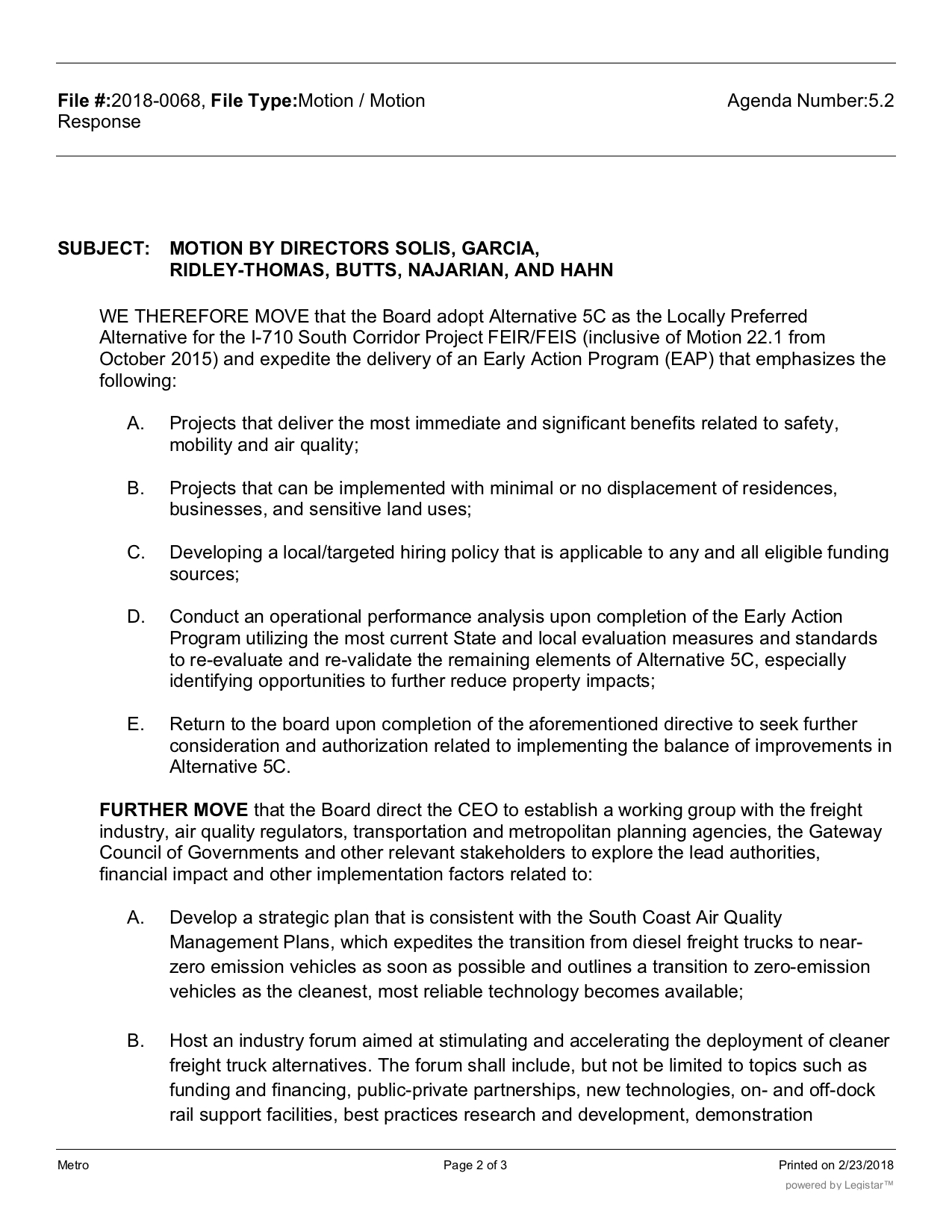 Agenda for Thursday's Metro Board meeting, which will