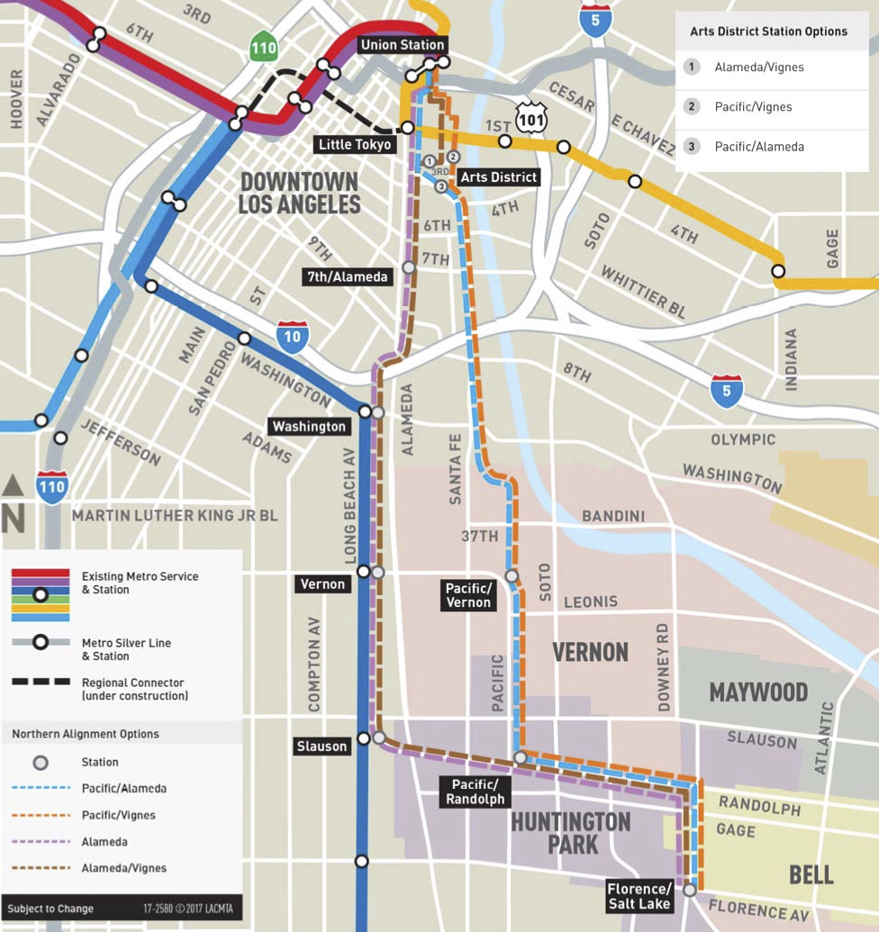 Subway Map 1 Train Route.New Northern Routes To Be Studied For Artesia To Downtown L A Light