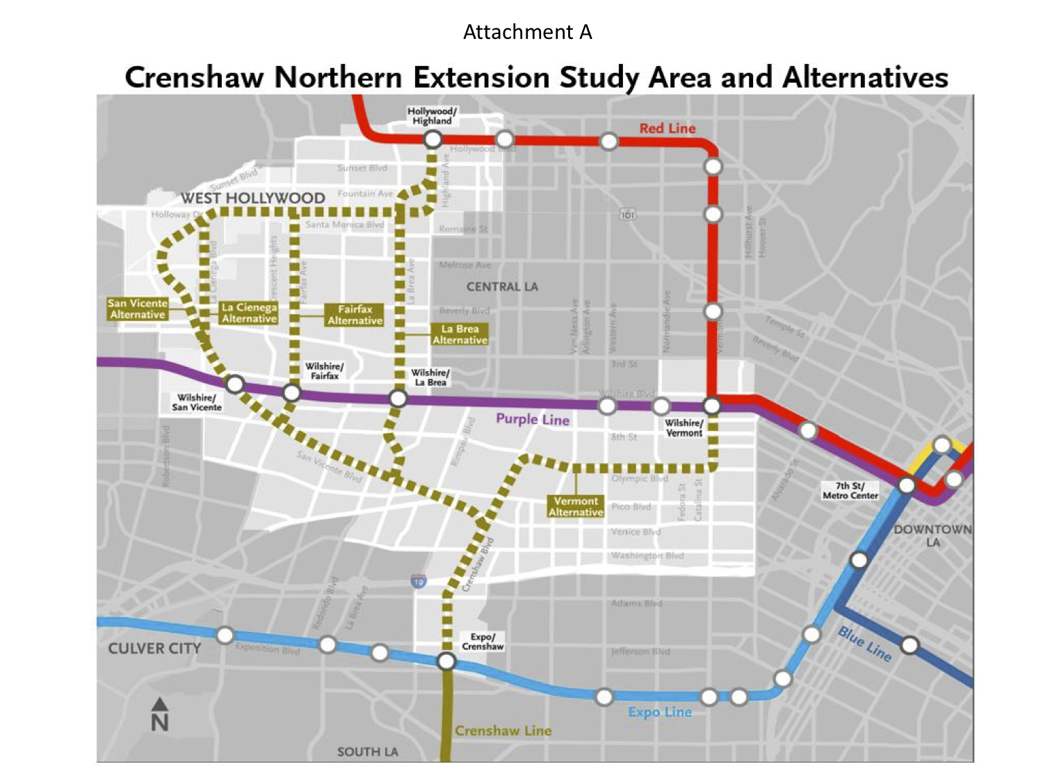 Santa Monica Subway Map.Feasibility Study Looks At Possible Routes For Crenshaw North Extension