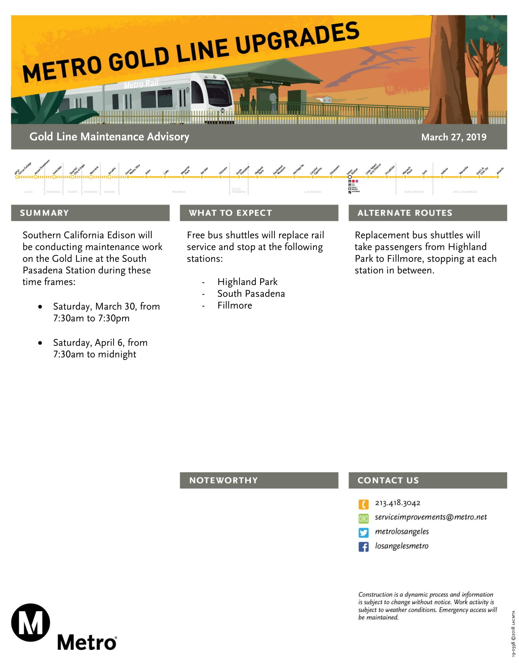 Service Advisory: Buses replace Gold Line service between