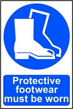 Protective footwear must be worn - PVC (200 x 300mm)