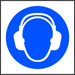 Wear ear protection symbol - RPVC (100 x 100mm)