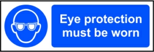 Eye protection must be worn - RPVC (300 x 100mm)