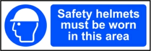 Safety helmets must be worn in this area - RPVC (300 x 100mm)
