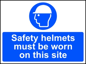 Safety helmets must be worn on this site - RPVC (600 x 450mm)