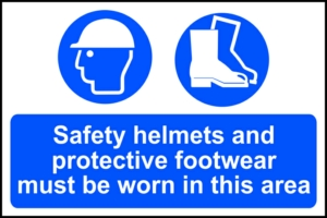 Safety helmets and protective footwear... - RPVC (600 x 400mm)