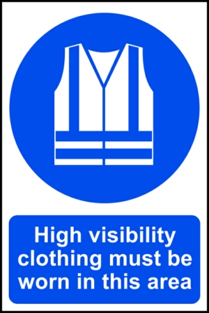 High visibility clothing must be worn in this area - RPVC (200 x 300mm)