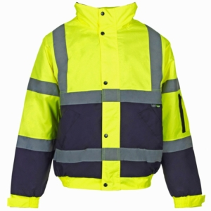 Hi Vis 2 Tone Bomber Jacket Yellow & Blue