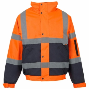Hi Vis 2 Tone Bomber Jacket Orange & Blue