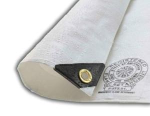 Flame Retardant Tarpaulin, White 200GSM - 4.5m x  6m