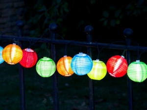 Solar String Lights – 10 Multi-Coloured Chinese Lantern LED Lights