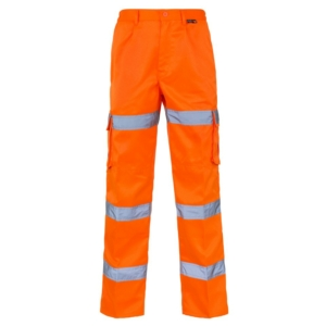 Hi Vis 3 Band Combat Trousers Orange