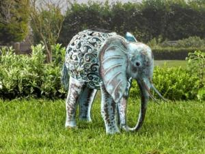 Metal Silhouette Elephant Garden Light