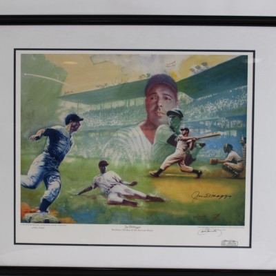 New York Yankees - Joe DiMaggio Signed Lithograph 35x42 Display - COA Steiner