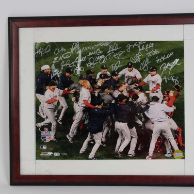 2007 Boston Red Sox World Series Champions Signed 22x26 Photo Display- 21 Sigs. - Steiner & MLB Hologram