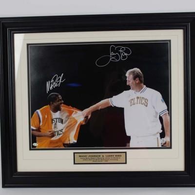 1996 Lakers Magic Johnson and Celtics Larry Bird Signed 16x20 Photo