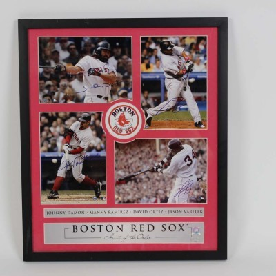 Red Sox - Damon, Ramirez, Ortiz & Varitek Signed 17.5x20.5 Photo Display- COA Steiner