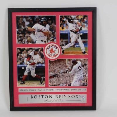 Red Sox - Damon, Ramirez, Ortiz & Varitek Signed 17.5x20.5 Photo Display- COA Steiner