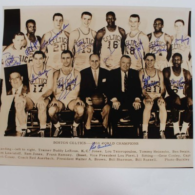 1959 World Champion Boston Celtics Signed 20x24 Photo by Bill Russell, Red Auerbach, Bob Cousy and 10 others - COA