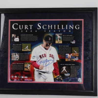 2004 Red Sox - Curt Schilling Signed 22.5x26.5 Photo Display - COA Steiner & MLB
