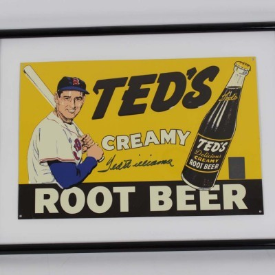 Red Sox - Ted Williams Signed Ted's Creamy Root Beer Tin Sign (COA)