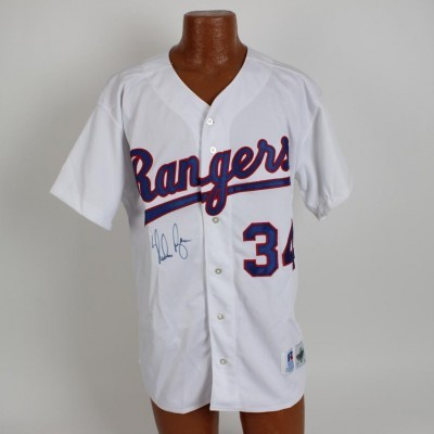 Nolan Ryan Signed Rangers Russell Athletic White Jersey -