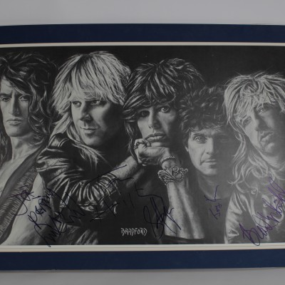 SB **Aerosmith Signed Tyler, Perry, Hamilton, Kramer, Whitford 33x21 Print by Brad Ford