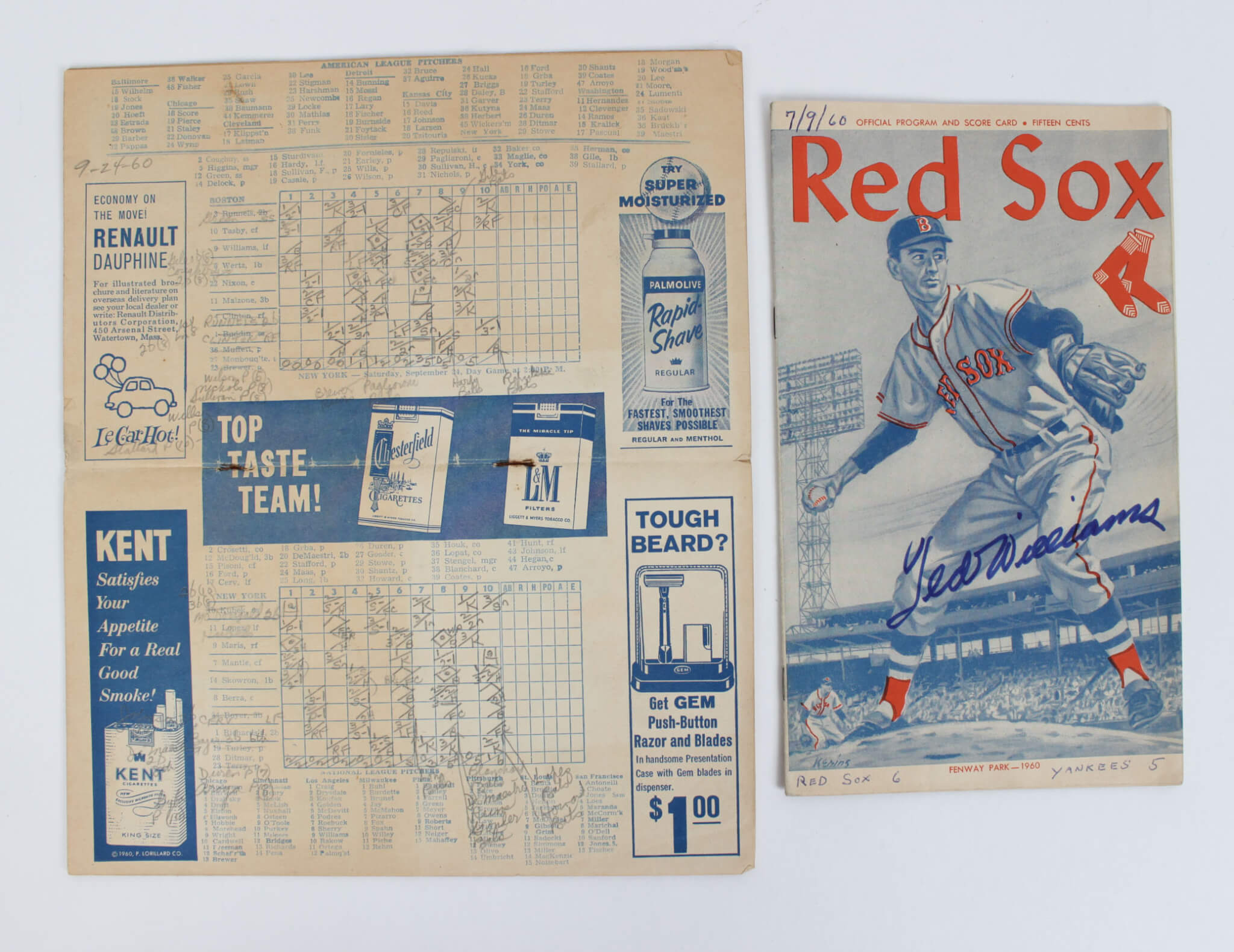 1960 Boston Red Sox Ted Williams Signed Program and Score Card9189_01