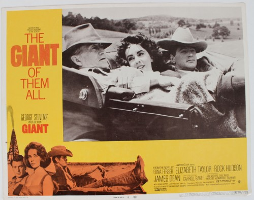 1956 (1970-R) Giant Movie Film Lobby Card Starring James Dean, Rock Hudson & Elizabeth Taylor etc.