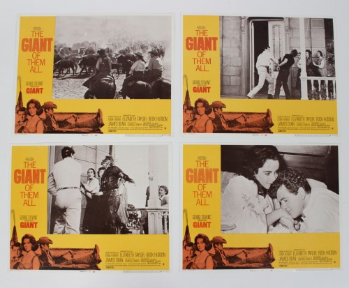 1956 (1970-R) Giant Movie Film Lobby Cards Lot of (4) Starring James Dean, Rock Hudson & Elizabeth Taylor etc.