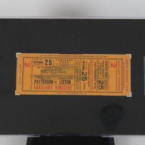 Sept. 25, 1962 Floyd Patterson vs Sonny Liston Ringside Fight Ticket SGC