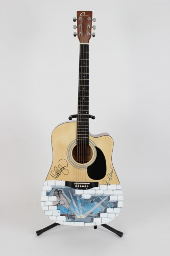 "Pink Floyd ""The Wall"" Hand-Painted Acoustic Guitar Signed by Roger Waters, Richard Wright & Nick Mason"