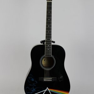 Pink Floyd Signed Black Cleca Acoustic Guitar Roger Waters, Nick Mason Obtained In Person