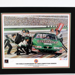 NASCAR Pit Competition Limited Edition Autographed Print By Bobby Labonte