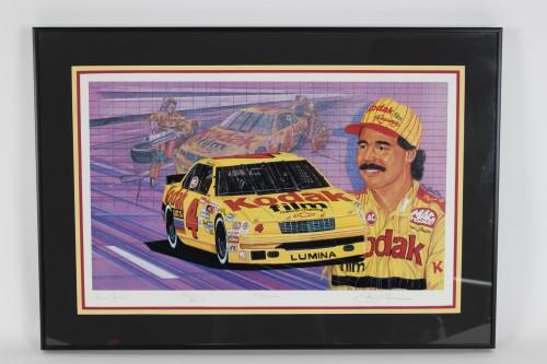 NASCAR - Ernie Irvan Signed LE #259/500 22x32 Print by Sam Bass - COA