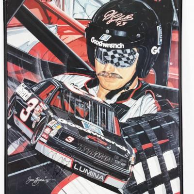 NASCAR - Dale Earnhardt Sr. Signed 24x30 Poster By Sam Bass - JSA