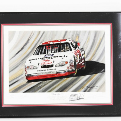 "NASCAR Kevin Harwick Signed ""Three for 3"" Print By Artist Garry Hill"