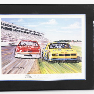 "NASCAR Dale Earnhardt Sr. Signed Limited Edition ""The Pass In The Grass"" Print by Artist Garry Hill"
