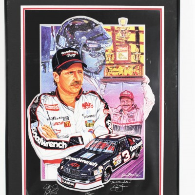 "NASCAR Dale Earnhadrt Sr. Limited Edition ""The Intimidator"" Signed Print by Artist Sam Bass"