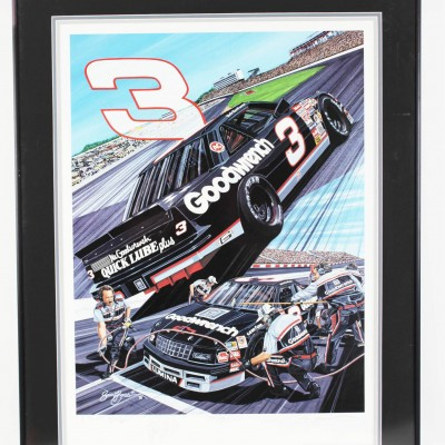 "NASCAR Dale Earnhardt Sr. Limited Edition ""3 to Get Ready...""  Signed Print by Artist Sam Bass - JSA"