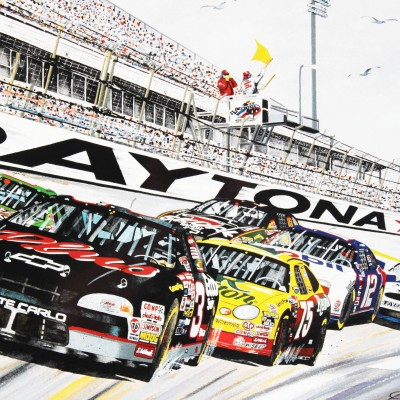 NASCAR Dale Earnhardt Sr, Larry McReynolds and Richard Childress Signed Print By Garry Hill