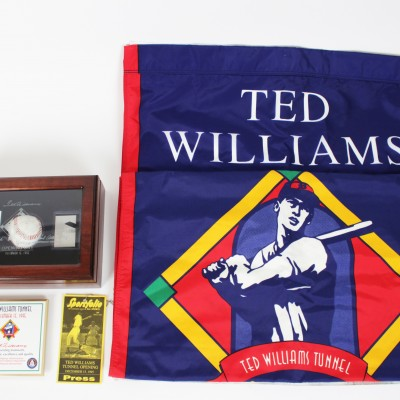 Boston Red Sox Opening Day of Ted Williams Tunnel Signed Banners, Box, & Plaque