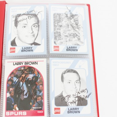 NBA & College Coaches Signed Basketball Card Lot of (22) Incl. Larry Brown etc.- COA