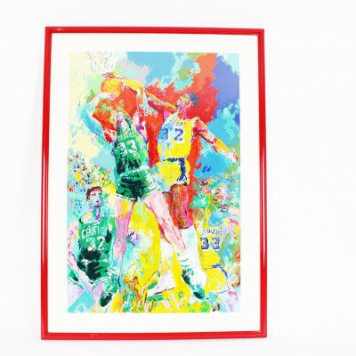 Magic Johnson & Larry Bird Lakers vs Celtics Leroy Neiman Artist Proof Serigraph Limited Edition 19/80