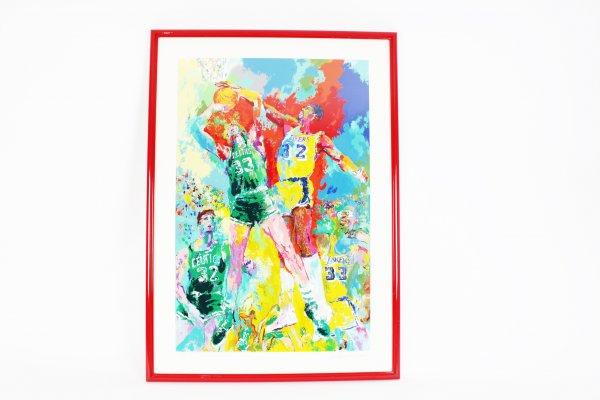 Magic Johnson & Larry Bird Lakers vs Celtics Leroy Neiman