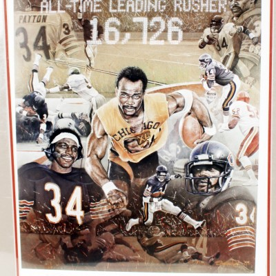 Chicago Bears Walter Payton Signed All-Time Leading Rusher Litho Limited Edition